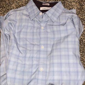 Calvin Klein Blue Striped Plaid Buffon Down Shirt